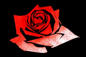 sprayed rose stencil